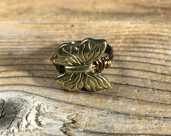size 6.75 , 6 3/4 - bohemian butterfly antique brass / gold ring - wire wrapped metal totem insect women teen girl jewelry statement ring