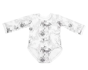 Monochrome Black & White Modern Gender Neutral Organic Baby Boy Girl Bodysuit, Unique Artsy Baby Shower Gift Raccoon Printed Organic Cotton