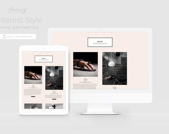 Fashion Blogger Template, Pinterest Style Blogger Design, Magazine Blog Template, Typography Blog Theme, Modern Blogger Theme, Portfolio
