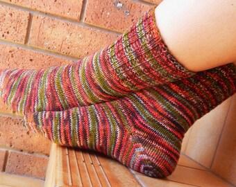 Hand Knitted Multicoloured Socks, wool socks, women's socks, knitted in Australia