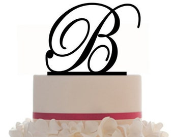 Custom Wedding Cake Topper with Personalized Initial with your choice of font, color and a FREE base for display