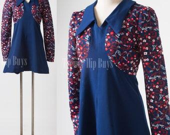 Mod Dress, 60s Dress, Vintage Babydoll Dress, Mad Men Dress, Vintage Blue dress, Mod Blue Dress, 60s Go Go Dress, Floral dress - S/M