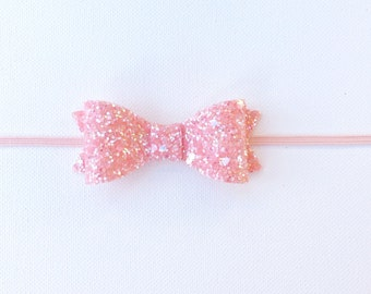 Pink Bow | Pink Glitter Bow | Pink Glitter Bow Headband | Baby Girl Pink Bow Headband | Light Pink Glitter Headband | Pink Sparkly Bow