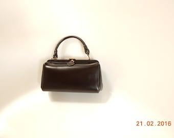 Lovely French 50s Leather Handbag - leather BOX bag Vintage 50's - bag - Box