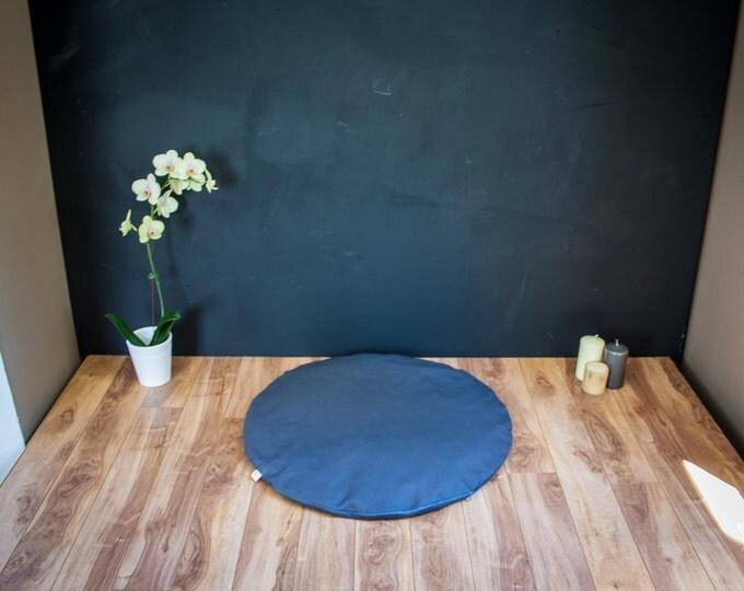 Round Zabuton Meditation mat floor mattress Dark Gray Plain organic Buckwheat cushion handmade by Creations Mariposa Zb-GU