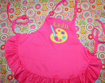 Hot Pink Ruffled Apron w/ Paint Palette Applique for Toddler/Child - Personalized w/ Name