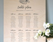 Wooden Seating Chart - wedding, table plan, vintage, rustic, table decor, sign, woodland, floral