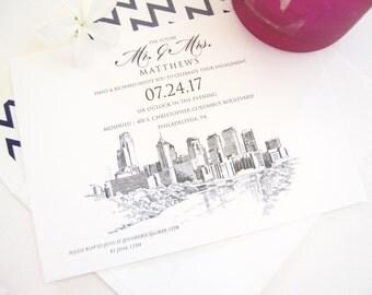 Philadelphia Skyline Engagement Party Invitations, Philadelphia Engagement Announcements You Design it! (set of 25 cards)