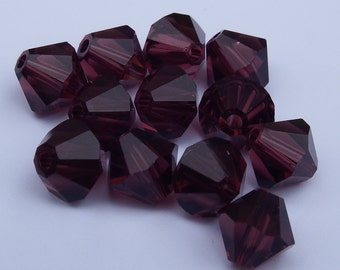 Close Out! Burgandy Red Swarvoski Crystal, 6 mm Bi-Cone, Pkg of 12 with AB Finish OR Regular Finish