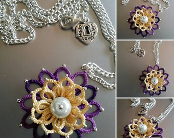 Summer lotus pendant. Shuttle tatted with pearl centre