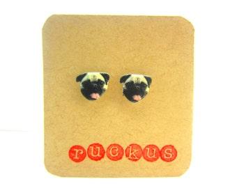 Pug Stud Earrings, Pug Jewelry, Dog Earrings, Dog Jewelry, Dog Lover, Pug Lover, Pet Jewelry, Pet Earrings, Pug Gift, Dog Gift