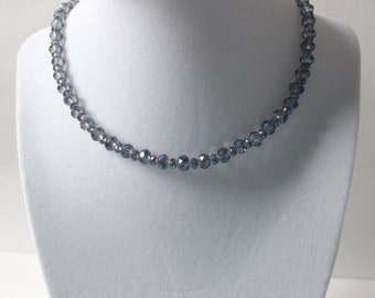 Blue Double Plated Glass Bead Necklace//Gift for Her//Birthday//Evening Out//Special Occasion//Stocking Stuffer//Prom//Graduation