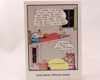 Vintage 1986 Gary Larson Far Side Greeting Card and Envelope. Different Worlds