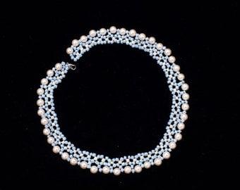 Handmade . Pearls beaded necklace.