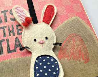 Bookmark with bunny - hand embroidered, elastic bookmark - unique felt bookmark