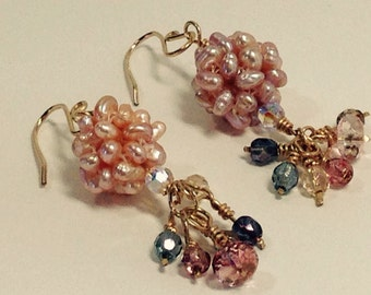 Freshwater Pearl Dangle Earrings SS 00009, Dangle Earrings, Wedding Earrings, Bridal Jewelry