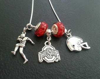Sterling Silver Ohio State football necklace