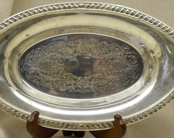 Vintage SHERIDAN SILVER PLATE Silver Plated Serving Tray, Braided Design Around Edge,Silver Houseware,Silver Holloware,Antique, #VH3019