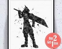 BIG SALE: Cloud Final Fantasy 7 Cloud FF7 Print Cloud Strife FFvii Final Fantasy Poster final fantasy art, final fantasy Print Watercolor Ar