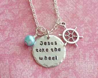 Christian Gifts Charm Necklace Christian Jewelry Jesus Take The Wheel Hand Stamped Necklace