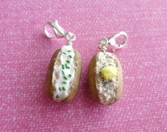 Charms Miniature Food Jewelry Baked Potato Charm Polymer Clay Food Jewelry