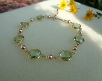 Gold Bracelet with green amethyst, 585 gold filled