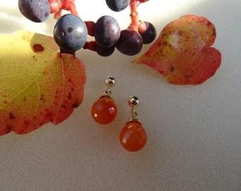 Sweet, small gold 585 (14 K) and carnelian earrings!