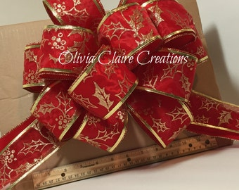 Holiday Bow, Christmas Bow, Gift Bow, Gift Basket, Christmas Tree Topper. Red Velvet with Gold Sheer Overlay Bow for Wreath, Holiday Decor