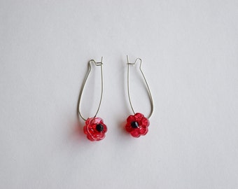 Dangle Red Poppy Earrings