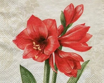 Set of 2 pcs 3-ply ''Red Amaryllis'' paper napkins for Decoupage or collectibles 33x33cm, Floral napkins, Decopatch napkins, Mixed media