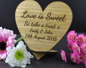 Wooden Love Is Sweet Take a Treat Wedding Heart Sweetie Buffet Candy Bar Sign