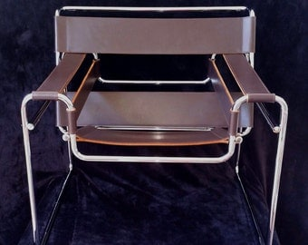 Wassily Chair, Mid Century Knoll Studio Marcel Breuer, Vintage Chrome and Leather Genuine Wassily Chairs 3 Available, Mid Century Modernist