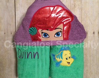 Little Mermaid Ariel or Flounder Inspired Hooded Towel