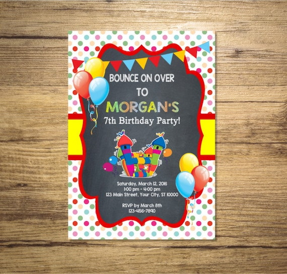 bounce house invitation printable bounce party birthday party
