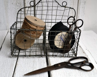 Vintage French Wire Storage Basket Desk Organizer Utensil Holder Utensil Drainer Fil de Fer