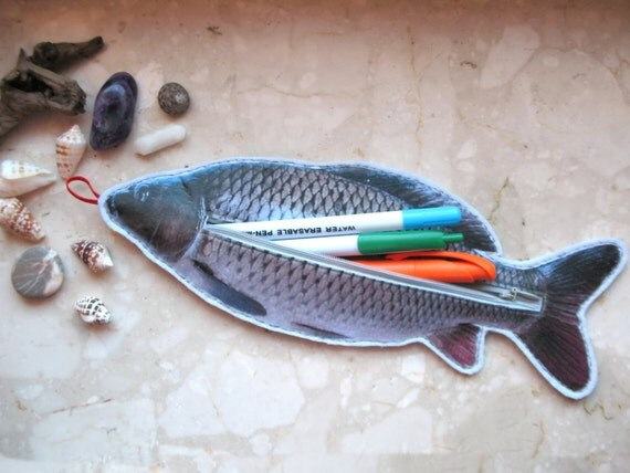Items similar to fish zipper pouch fish pencil case on etsy for Fish pencil case