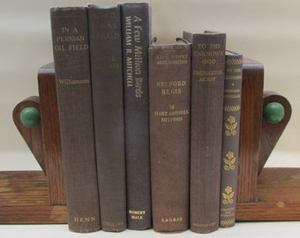 Set of Vintage Chocolate and Gold Coloured Decorative Books - Instant Library - Old Book Collection