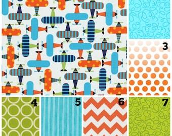 Custom Crib Bedding - Airplanes and Geometrics in Orange Aqua and Lime  ** Bumpers Sheet Rail Guards Crib Skirt *Fast Turn Around*