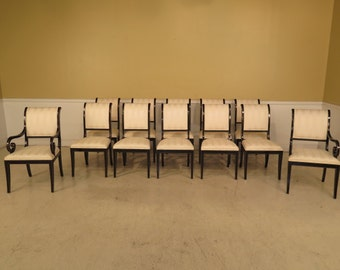 39779E: Set Of 12 KINDEL Black Lacquer Regency Dining Room Chairs