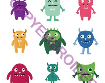 CUTE MONSTERS Design for Embroidery machine  /  monstre motifs pour broderie machine / instant download
