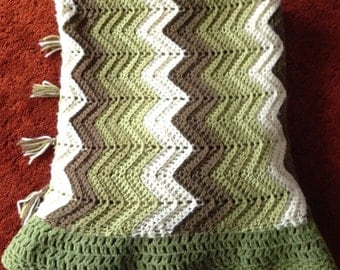 70's Green Chevron Afghan