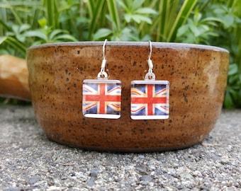 Union Jack Earrings British Flag Earrings UK Earrings Vintage Union Jack British Flag Jewelry England Earrings Sterling Silver Earwires