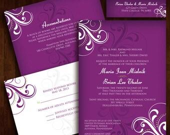 Classy, Floral Wedding Invitation
