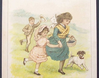 "Vintage Nursery Print ""Running Down The Hill"" by Emily Harding"