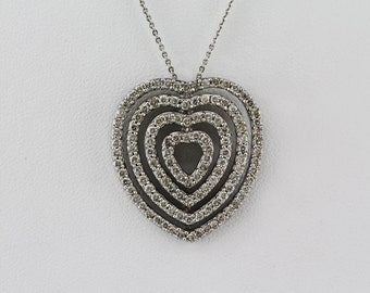 1.04ct Pave Diamond in 14K White Gold Layered Heart Charm Necklace -  CUSTOM MADE
