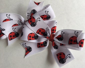 Lady Bug Hair Bows/ Red and White Lady Bug Hair Bows/Little Girl Lady Bug Hair bows
