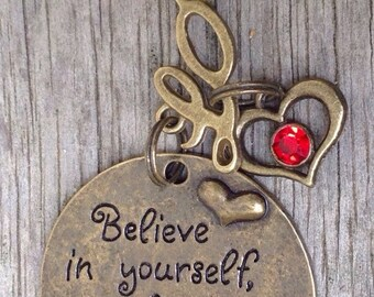 """Alloy Metal """" Believe in yourself and happiness will follow"""" Love Keyring Keychain"""