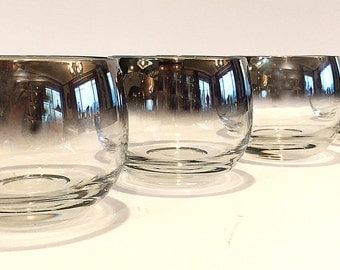 Dorothy Thorpe Style Silver Fade Glasses Ombre Mirrored Roly Poly Retro Barware