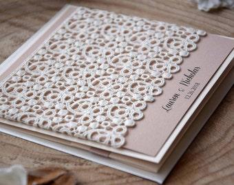 Ivory Lace Wedding Invitations, Custom Invitations, Marriage Invitations, Pocket Wedding Invitation Set, Elegant Wedding Invites - SAMPLE