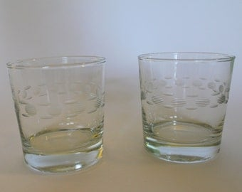 A Pair of Vintage Etched Glass Lowball Glasses